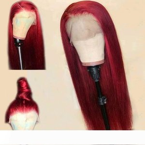 Red Straight Lace Front Human Hair Wig 13X6 Deep Part Preplucked Brazilian Remy Burgundy Wigs Full 150% Density For Black Women