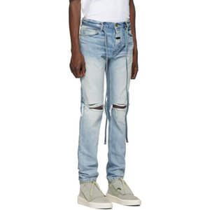 Men Slim Fit Knee Hole Hip Hop Skinny Jeans Fashion Side Zipper Distressed Ripped Stretch Streetwear Denim Trousers Wholesale