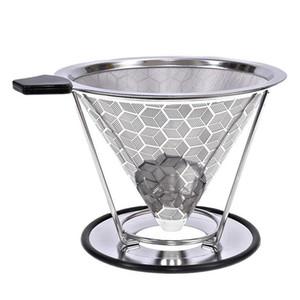 Filtro reutilizável de café de aço inoxidável suporte de metal de malha Cestas de funil Brew Drip Coffee Filtros Dripper Gotejamento Filtro de café Cup