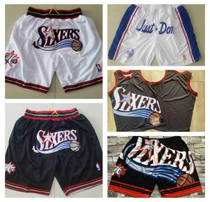Philadelphia76ersMen basketball shorts JUST DON By Mitchell & Ness summer MEN Pocket Retro PANTS S-3XL
