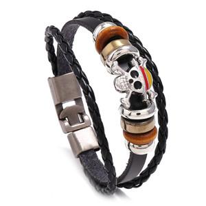 Gioielli di moda in pelle lega traversa del cranio Bracciale Uomo Casual personalità PU tessuto il braccialetto in rilievo donne punk Bracelet Vintage