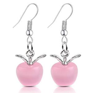 New Sweet Pink Opal Stone Apple Shape Charm Statement Earrings For Women Girl Lovely Cute Fashion Stud Earings Jewelry Lover Gifts Wholesale