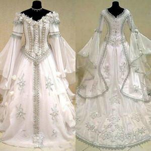 Medieval Wedding Dresses Witch Celtic Tudor Renaissance Costume Victorian Gothic Off The Shoulder Long Sleeve Wedding Dress Bridal Gowns 460