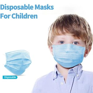 50PCS lot In Stock! 3 Kids Disposable Layers Masks Nonwoven Breathable Children Face Mask Dustproof Earloop Mouth Masks Fast Shipping