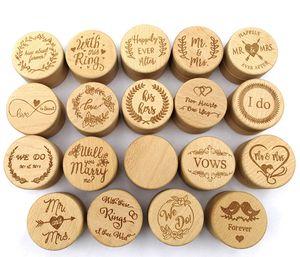 صندوق خشبي الدائري هدية شخصية الفلاح خاتم الزواج حاملي مخصص منقوش جولة الخشب خاتم الخطوبة لصالح صندوق هدايا الزفاف