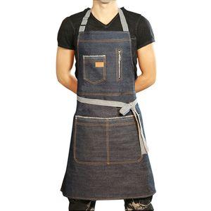 2019 데님 주방 앞치마 남성 여성 청소 제복 민소매 요리 앞치마 유니섹스 앞치마 홈 섬유 XY0021