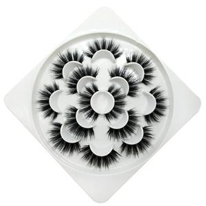 7 pares de pestañas postizas pestañas falsas naturales / gruesas largas 5D Faux Mink Lashes Extensión de pestañas hechas a mano para maquillaje de belleza 36 estilos