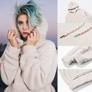 Hommes Femmes unisexe chaud épais Cachemire Sweatshirts Outwear fourrure Toison Sweat à capuche Manteau à capuchon