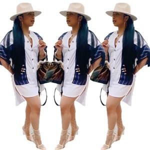 Navire libre nouvelles femmes mode lambrissé bouton chemise blanche robes Lady Casual asymétrique Mini robe