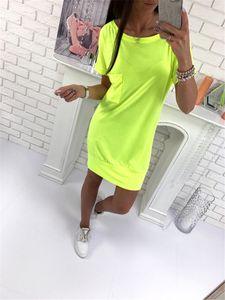 Fashion-Solid avec poche derrière ceinture ceinture lâche Midi robe Designer Casual robes à manches courtes robe d'été