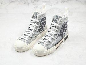 Новый 19FW B23 Косой High Low Top Sneakers марочные платформы Леопардовый Casual Luxury Mens женщин обувь Модельер Chaussures