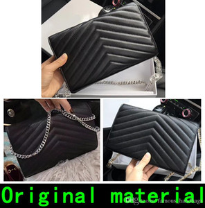 handbags real leather high quality handbag purses Gold Silver chain Sheepskin Cowhide wallet handbag Come With BOX