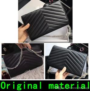Дизайнер сумок натуральной кожи высокого качества роскошные сумки Кошельки золото Серебряная цепочка овчины натуральной бумажник конструктора сумка с коробкой