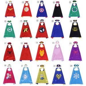 20 Arten Doppelschicht Superheld Kap Maske für Kinder Cartoon Film Superheld Halloween Kostüm Kind Weihnachten Geburtstagsfeier Gefälligkeiten