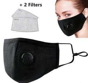 Máscaras anti-polvo de humo de gas Alergias ajustable y reutilizable Protección PM 2.5 con 2 Filtros para mujeres hombre de mediana Negro En Stock