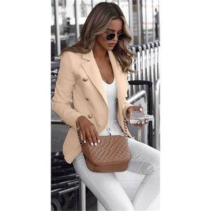 Для женщин дизайнер Тонкий деловой костюм с длинным рукавом сплошной цвет Щитовые Outerwears Мужской одежды Подставка Кнопка Воротник Fly Женщины Blazers
