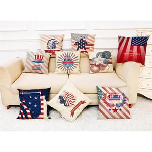 1pc Independence Day Stampa Piazza federa del cuscino cassa della fibra di lino cuscino del divano Cuscino decorazione domestica 45x45cm L614