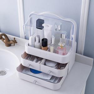 Tragbare Schubladen-Typ Desktop Storage Box Comestic Makeup Container 2 Fach-Art Cases Schmuck Kosmetik Organisator-Aufbewahrungsbehälter