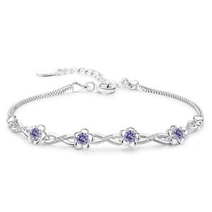 Genuine 925 Sterling Silver Flower Bracelet for Women Lady Girls Cubic Zirconia Charm Bracelets Chain Fine Jewelry 5Y387