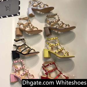 Rome style Femme Sandales De Mode Designer En Cuir Marque Rivet à talons hauts chaussures banquet Sexy beach Party Chaussures Slingback Pompes Sandales 41 42