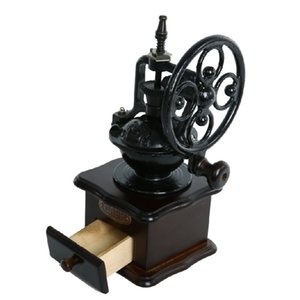 Doğrudan Deal Sıcak Satılık İşyeri Ahşap Manuel Coffee Bean Öğütücü Makinesi Antik Döküm El Crank Burr Kahve Değirmeni