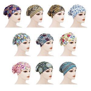Women Elastic Flower Print Double Layer Night Sleep Caps Turban Chemotherapy Cancer Chemo Hat Head Wrap Hair Bonnet