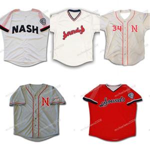 Mens Nashville звуки темно-синий белый серый красный пользовательский двойной сшитые рубашки бейсбола