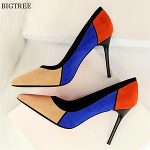BIGTREE Mixed Colour Flock Talons hauts pour femmes Chaussures à bout pointu Chaussures Femme Mode Femme Escarpins Chaussures de bureau