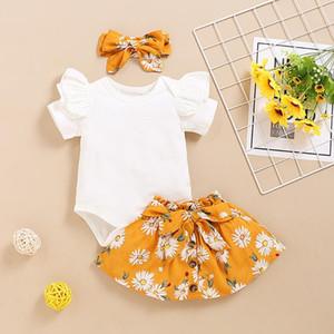 الرضع طفلة الصلبة رومبير BODYSUIT + عباد الشمس طباعة تنورة + رباطات وتتسابق