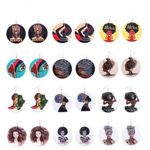 Nueva Llegada Afro Pendientes De Madera De Impresión Cabeza Africana Colorido Eardrop Madera Redonda Charm Hoop Pendientes Para Las Mujeres Señora Joyería