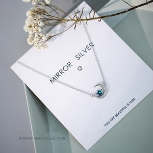 Silver Plated Necklace Micro Zircon Moon Star Pendant Short Clavicle Necklace For Women choker collares Wedding Jewelry