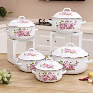 5 Töpfe Set Emaille-Topf für das Kochen Auflauf Emaille Ceram Küche Pot 1-5Litre