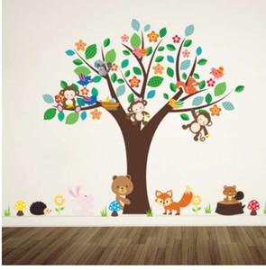 غابة الحيوانات قرد تلعب تحت زهرة شجرة الجدار ملصق للأطفال حضانة كيدز غرفة الأطفال ديكورات المنزل صائق