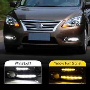 2PCS DRL için Nissan Sentra Sylphy 2013 2014 2015 LED DRL Gündüz Işıklar Daylight Sis lambası kapak far araba stil beyaz
