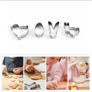 4pcs / set Mini Edelstahl Ostern Ausstechformen 3D-Kuchen-Plätzchen-Form-Fondant-Cutter DIY Partei Backen-Werkzeuge FFA3707