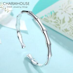 Sólido 925 pulseras de plata pulseras para las mujeres de bambú brazalete brazalete pulsera ajustable Pulseira moda joyería de la boda Bijoux