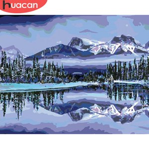 HUACAN Coloring By Numbers Mountain Landscape HandPainted Kits Drawing Canvas DIY Oil Painting Winter Scenery Pictures Gift