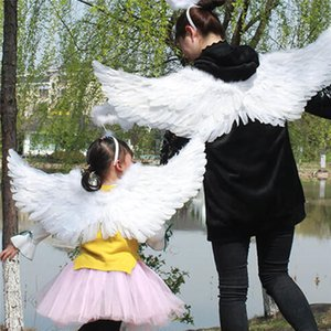 Bambini piuma bianca ali d'angelo per Dance Party Cosplay Stage Show Masquerade Carnevale vacanze Fancy Dress