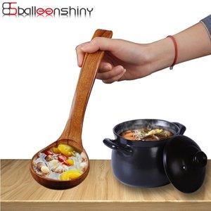 BalleenShiny Grande Wooden colher de sopa punho longo Natural Soup Spoons Saudável Eco-Friendly de madeira Louça Acessórios de cozinha