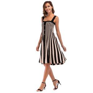 여자 스트라이프 프린트 캐미솔 드레스 여름 섹시한 등이없는 버튼 느슨한 패션 드레스 Famale 캐주얼 의류