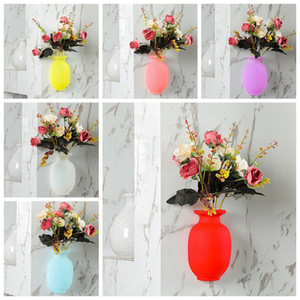 Silicone Vases Magic Suction Cup Creative Wall Decoration Vases Fridge Magnets Wall Hanging Soft Vase Fluorescent Color HHA514