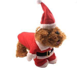 Rote Weihnachten Haustier Kleidung mit Hut XS-XXL Winter Warme Weihnachtshundkanne Hund Katze Kleidung Lustige Santa Claus Kostüm Für Hunde Katze VT0948