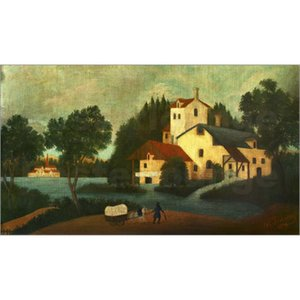Henri Rousseau paintings Landschaft mit Wassermuhle und Wagen. hand painted canvas art animal picture for living room decor