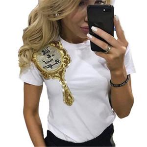 Mode Heiße Frauen t-shirt Lässige Pailletten Emboridery Magische spiegel t-shirt Kurzarm Tops T kawaii frauen T-shirts XZ-113