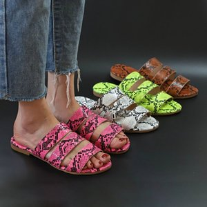 Wholesale Women slippers designer snake skin candy color sexy & club Flat shoes beachwear flattie outdoors colorful new fashion stylish 0070