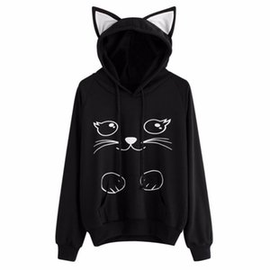 Femmes Cat Oreille en vrac manches longues à capuche Sweat-shirt Manteau d'hiver Imprimer Cat Cartoon Prendre Sweatshirts Intérieur # 261721