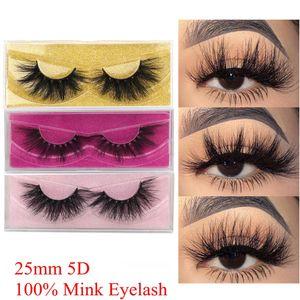 100% Real Mink Eyelashes 25 mm 3D 5D Mink Lashes Handmade Long Dramatic Volume Soft Wispy Fluffy Fake Lashes Mink Eyelash Makeup Extensions