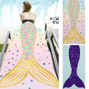 70 * 150 cm Mermaid Tail Beach Manta Toalla para tomar el sol de microfibra Toalla de natación Deporte al aire libre Estera de yoga Sofá casa manta de la rodilla