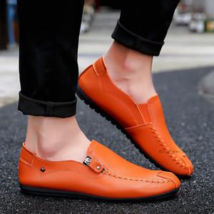 Moda Masculina preguiçosos Casual Shoes slip-on Flats Loafers respirável Masculino Peas sapatos de conforto couro sapatilha ujk8