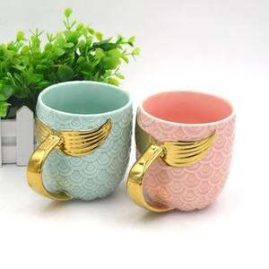Fish Tail handle Milk Tea Cups Mermaid Ceramic Water Cup Pearl glaze Golden Mug Exquisite Coffee cups 18zf k1